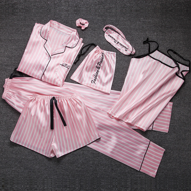 Summer Autumn 7 Pcs Set Silk Elegant Pajamas For Women Stripe Pink Shorts Pajama Set Long Sleeve Top Pants Full Lounge Sleepwear
