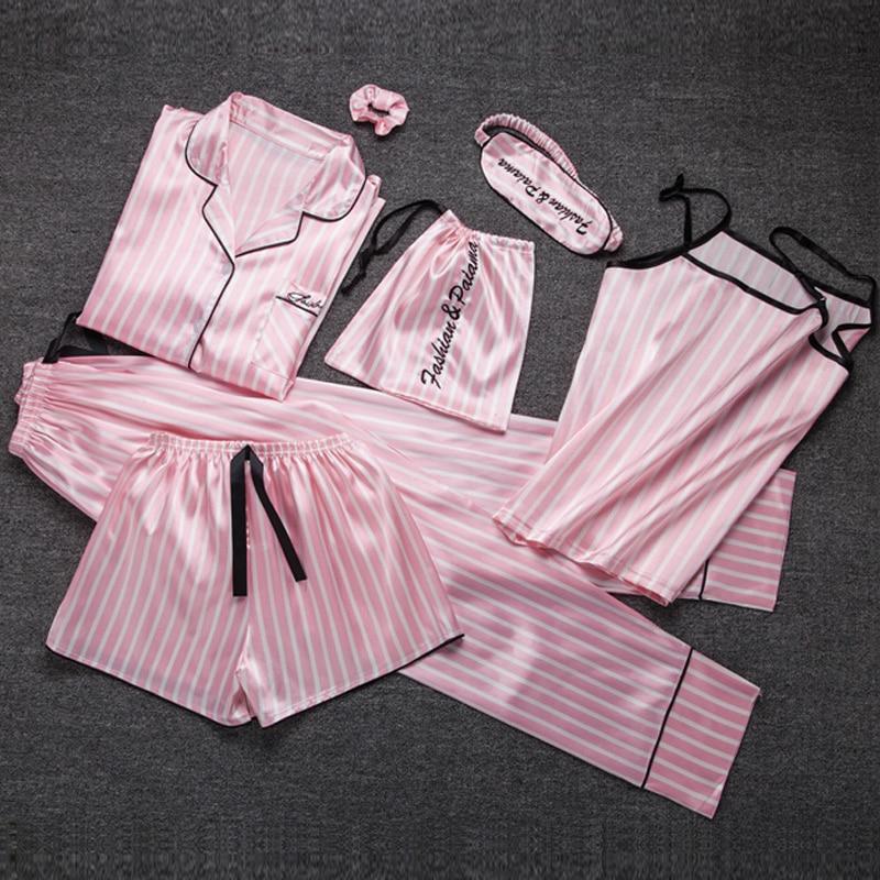 Summer autumn 7 Pcs   Set   Silk Elegant   pajamas   for Women stripe pink Shorts   pajama     set   Long Sleeve Top Pants Full Lounge Sleepwear