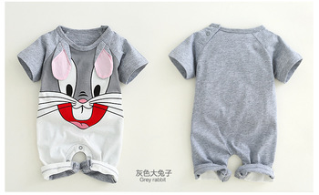 Newborn baby cotton rompers lovely Rabbit ears baby boy girls short sleeve baby costume  Jumpsuits Roupas Bebes Infant Clothes 1