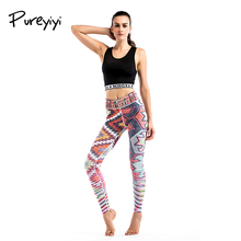 Фотография Floral Printing Women Yoga Pants High Waist Leggings Casual Trousers Running Tight Gym Sportswear Quick Dry Slim Jumpsuit