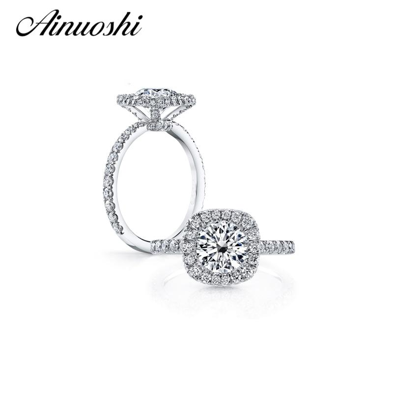 2 Karat Halo Ring 925 Sterling Silber Rundschliff Kissen geformt SONA Verlobung Ehering Frauen Jubiläum Fingerring
