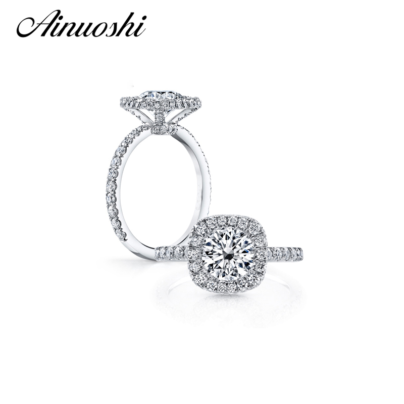 Fashion Halo Ring Sterling Silver SONA Diamond Romantic Engagement Wedding Ring For