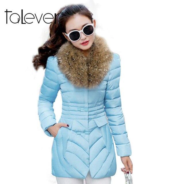 2016 Fashion Women Winter Coat Big Fur Collar Warm Coats Slim Long Outerwear Thicken Parkas Cotton Fabric Black Down Jacket