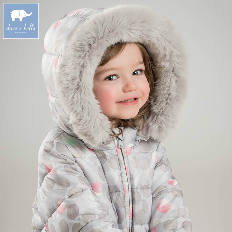 DBJ6695 dave bella winter baby girl dots Jackets toddler Hooded outerwear children hight quality padding coat