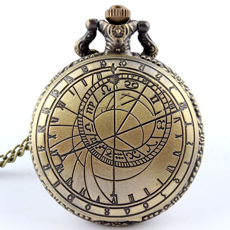 Dr. Who Pocket Watch For Men With Fob Chain Doctor Who UK The United Kindom Watches Hollow Engrave Mens Bronze Flip Case Clock