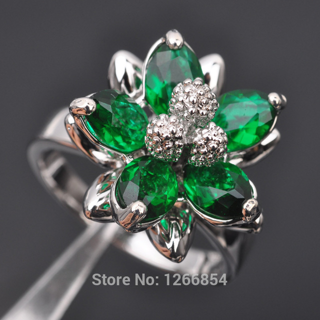 9725be362ae42 US $7.59 |Flower Design Green Stone Cubic Zirconia For Women 925 Sterling  Silver Jewelry Ring Free Shipping Size 6/7/8/9/ Z0490-in Rings from Jewelry  ...