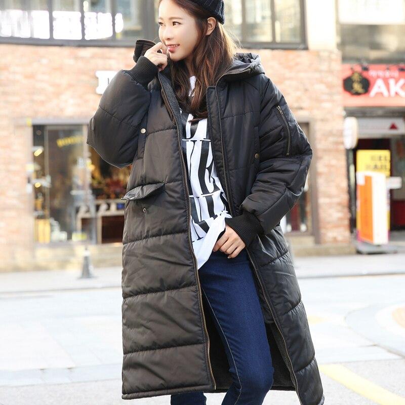 New Women Winter Coat Wadded Jacket Long Parka Thickening Hoodies Abrigos Female Snow Wear Casual Jacket Overcoat C1218