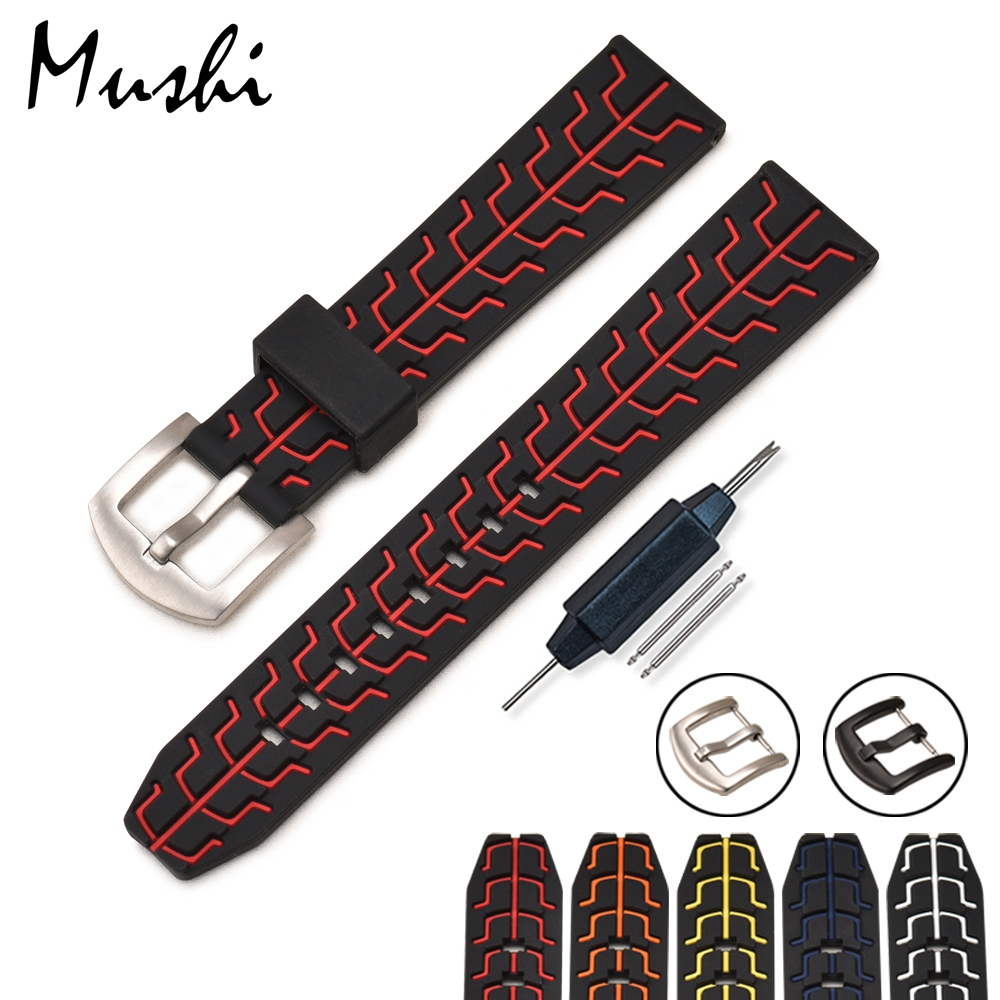 Silicone Rubber Watchbands Strap Stainless Steel Black Buckle Waterproof Diving 20mm 22mm 24mm colorful Watch Band Strap black blue gray red 18mm 20mm 22mm waterproof silicone watchband replacement sport ourdoor with pin buckle diving rubber strap