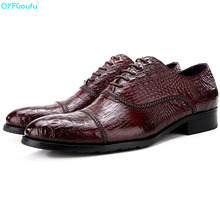 Brand Crocodile Pattern Shoes Oxfords 100% Genuine Leather Fashion Handmade Designers Men Dress Business