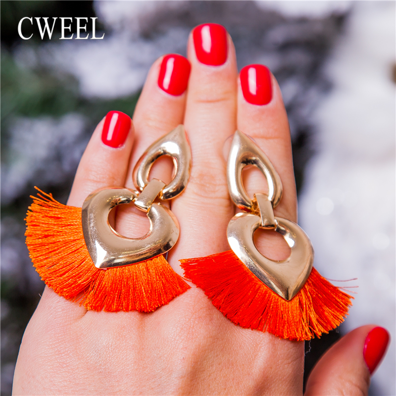 CWEEL Red Tassel Earrings For Women Bohemian Earings Fashion Jewelry Wedding Fringe Bridal Christmas Valentine's Day Earring