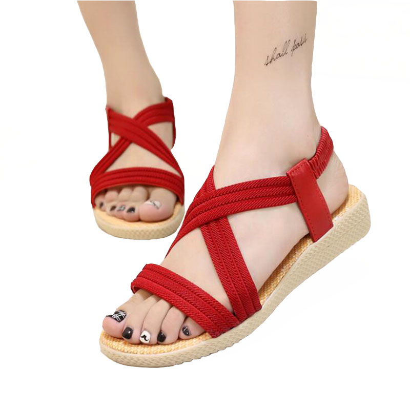 Free shipping Sandal women summer new 2018 Women shoes simple flat fish-mouth sandals with pure colored elastic sandals Big size nemaone new hot sale women sandals summer casual fashion fish mouth shoes wedge sandals women shoes free shipping