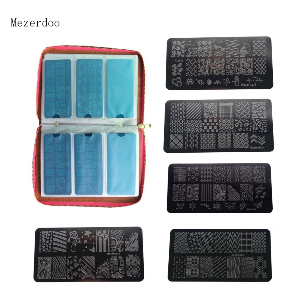 120 Slots PU Leather Nail Art Stamping Image Plate Case  and 11Pcs Nail Art Templates Plates Manicure Nails Stencils 12pcs/lot 268 in 1 nail art templates nail stencils set