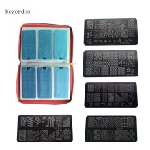 120 Slots PU Leather Nail Art Stamping Image Plate Case and 11Pcs Nail Art Templates Plates Manicure Nails Stencils 12pcs/lot