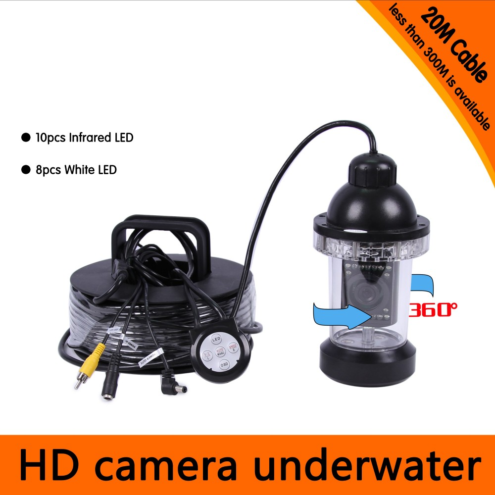 20Meters Depth Wide Angle Rotative Underwater CCD Camera with 18pcs of White & IR LED for Fish Finder & Inspection Camera