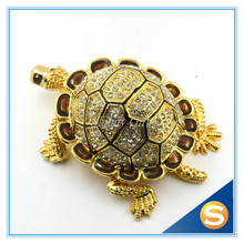 Full Diamond Turtle Shape Trinket Box Jewelry Box Pewter Materials