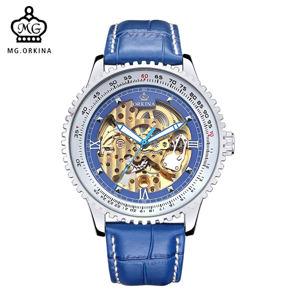 New Blue Leather Band MG.ORKINA Clock Men Casual Mens Watches Skeleton Steampunk Mechanical Watch Reloj Esqueleto HombreNew Blue Leather Band MG.ORKINA Clock Men Casual Mens Watches Skeleton Steampunk Mechanical Watch Reloj Esqueleto Hombre