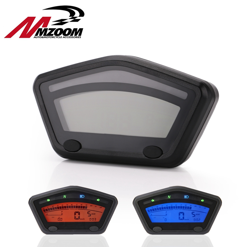 Universal Motorcycle LCD Digital Gauge Panel Speedometer Tachometer Odometer For Motorbike Scooter Motocross ATV enduro etc image