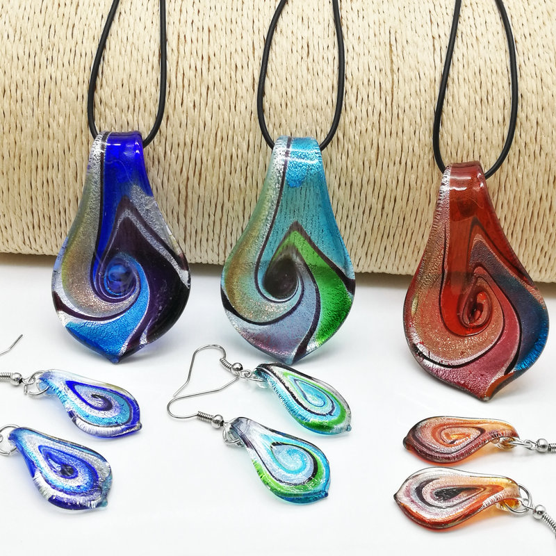 Jewelry-Set Leaf-Shape Necklace Earrings Pendant Fashion 3set Glass Floral Murano