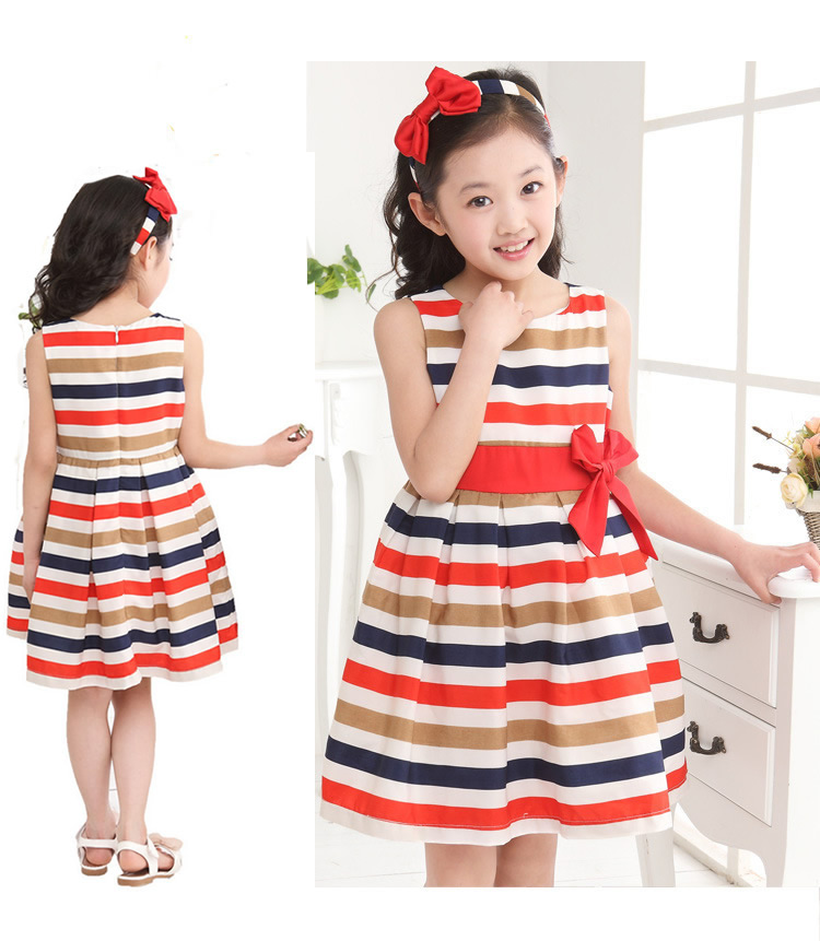2017 New Fashion One Piece Striped Bowknot Summer Dress Princess Birthday Dress for Girls Sleeveless Dress for 3-8 Years Girls2017 New Fashion One Piece Striped Bowknot Summer Dress Princess Birthday Dress for Girls Sleeveless Dress for 3-8 Years Girls
