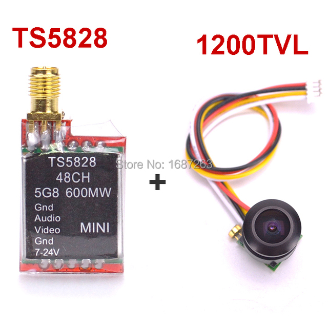 FPV 1200TVL 150 градусов супер маленькая FPV камера + TS5828 5,8G 600 mW 48 каналов мини беспроводной передатчик A/V
