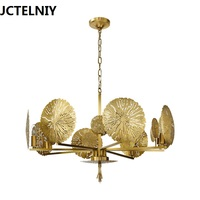 American copper chandelier simple hollow out creative luxury LED lamp study designer living room hotel fashion art chandelier