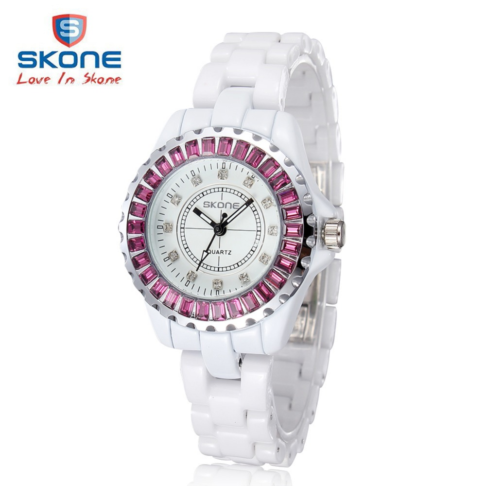 SKONE Fashion Ceramic Dress Women Watches Top Luxury Brand Ladies Diamond Quartz Watch Woman Clock Relogio Feminino Hodinky XFCS diy lovely baby big bow plaid headwrap for kids bowknot hair accessories children cotton headband girls gifts
