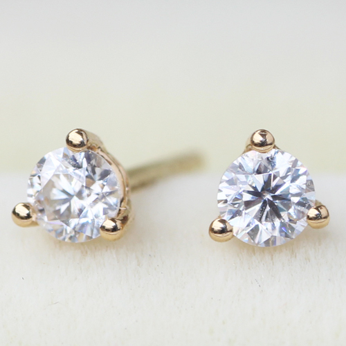 18K 750 Yellow Gold 3mm Lab Grown Moissanite Diamond Earrings