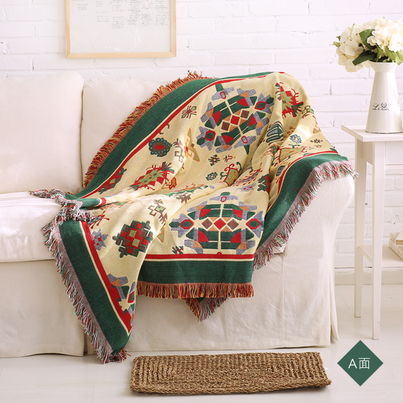 MDCT Autumn Winter Cotton Blanket Sofa Chair Cover Thick Double Side Throw Decorative Carpet Table Cloth Slipcover Green Red