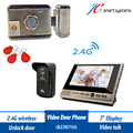 "Whole Set 7"" Video Doorphone Wireless Camera Doorbell + Electronic Door Lock With ID Card Reader"