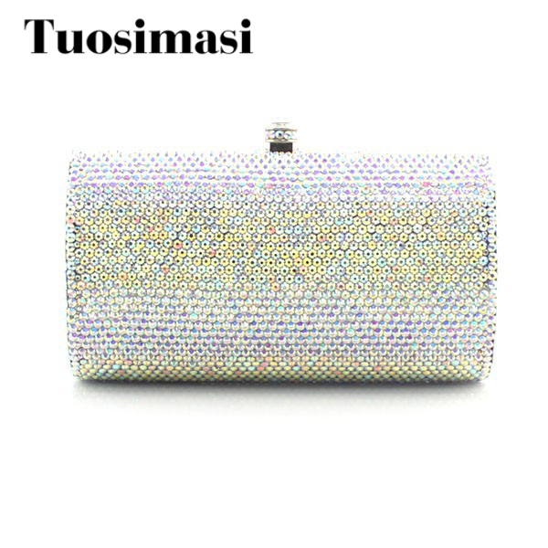 Handmade Ladies Bridal Bow Crystal Clutch Purse Women Bags With Sliver Chain