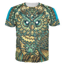 Handsome! Vibrant Colors And Textures God Owl Of Dreams 3D printed T-Shirts Mens clothing Summer Style Casual Plus size 6XL(Hong Kong,China)