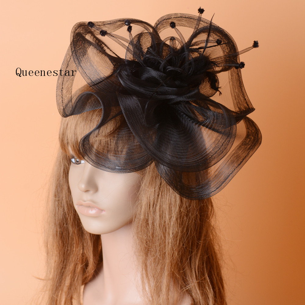 New Vogue Black Wedding Hat Fascinator Clip Feather Mesh Net Headdress Women Bridal Hat Cocktail Gauze Floral Hair Accessories
