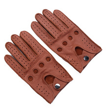 New Arrival Luxury Men Leather Gloves Mittens Hole Button Br