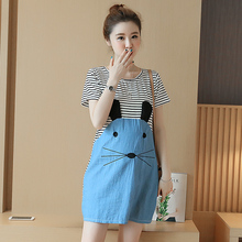 Summer Maternity Clothing for Pregnant Women Clothes Fashion Loose One-piece Dresses Short Sleeve Top Maternity Dress Wear B87