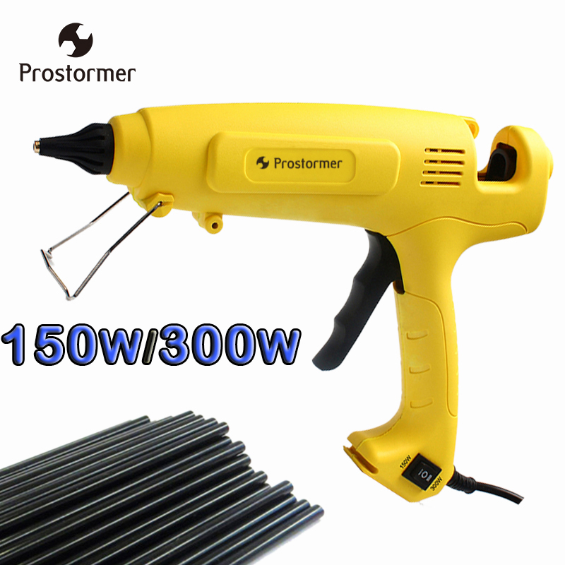 Prostormer 150W/300W Hot Melt Glue Gun EU Plug Adjustable Professional Copper Nozzle Heater Heating Wax 11mm Glue stick 30w hot melt glue gun with xt60 plug for rc models outfield 3s 12v heater heating wax 7mm glue stick diy hand tools