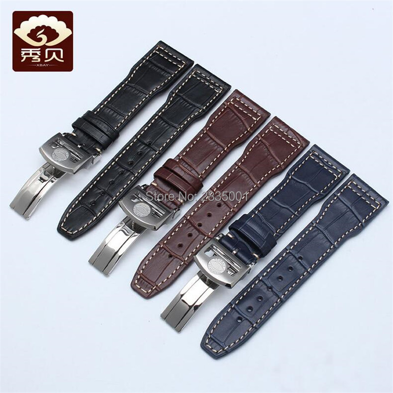 Smooth Genuine Leather Watchband 20 21 22 Blue Brown Black White thread Calfskin Strap Folding Clasp