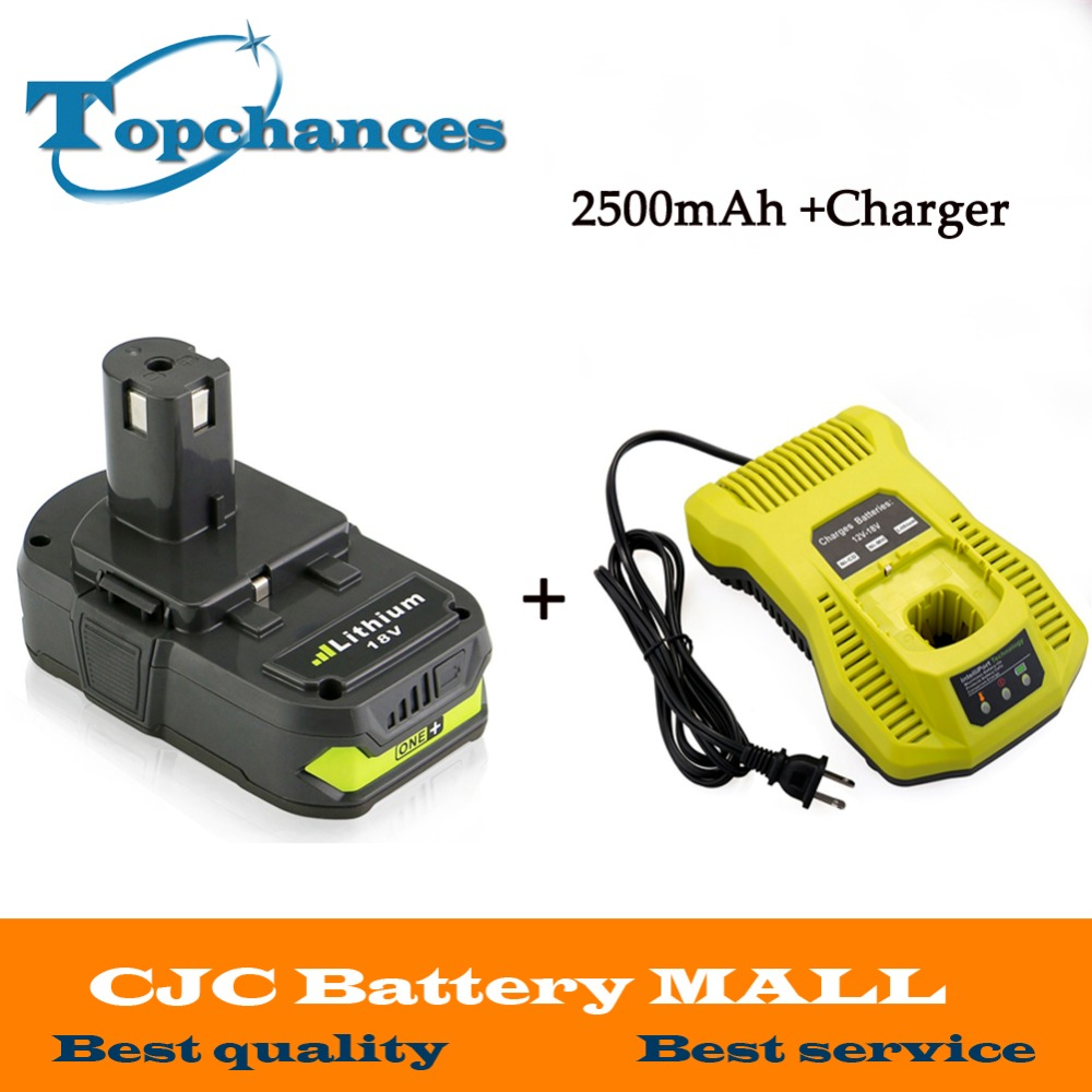 цены High Quality 18V 2500mAh Li-Ion For Ryobi Hot P108 RB18L40 Rechargeable Battery Pack Power Tool Battery Ryobi ONE+ With Charger
