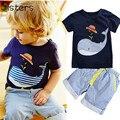 Verão das Crianças dos miúdos de algodão curto-de mangas compridas t-shirt + calças 2 pcs terno do menino listrado curto menino baleia dos desenhos animados conjunto de roupas