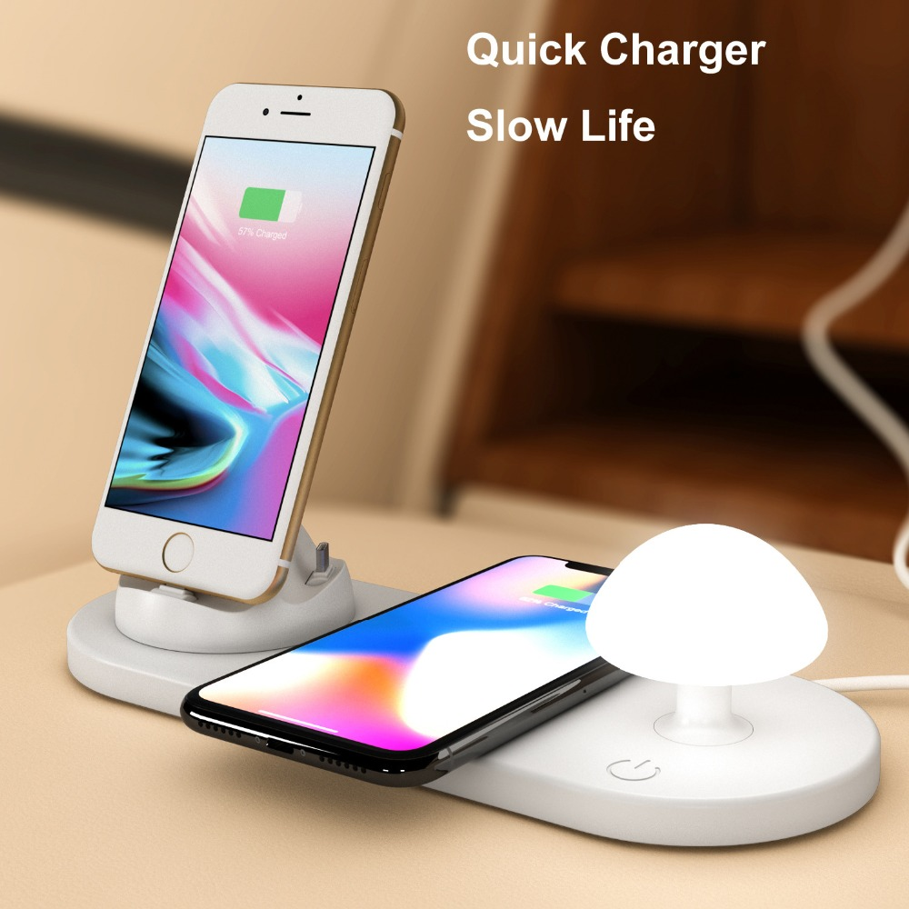 Multi Functions Fast Wireless Phone Charger with Mushroom LED Light and Lightning/Type C/Micro usb Phone Stand Charger