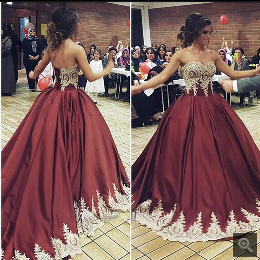 Vintage Burgundy Gold Ball Gown Wedding Dresses Colorful