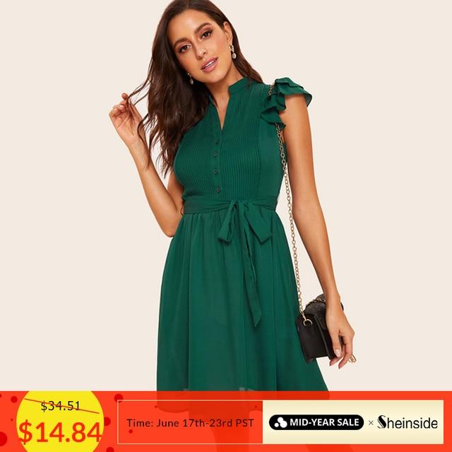 Sheinside Green Button Front Layered Ruffle Pleated Dress With Belt 2019 V Neck Vintage Ladies Dresses Women Short Summer Dress