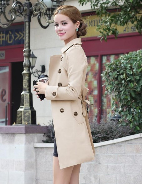 1PC Trench Coat For Women Double Breasted Slim Fit Long Spring Coat Casaco Feminino Abrigos Mujer Autumn Outerwear 5