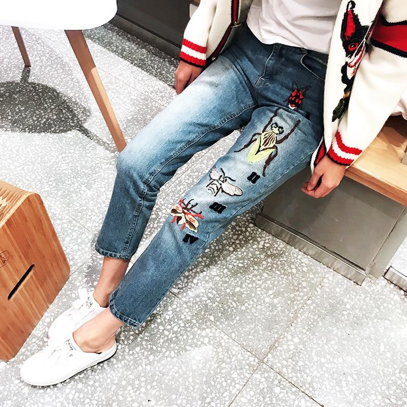 Etero Abbigliamento Signore Pantaloni Denim 2018 Jeans Vintage Alta Insetti Ricamo 3d Donna Larghi Wiast Estate O0qXEwq