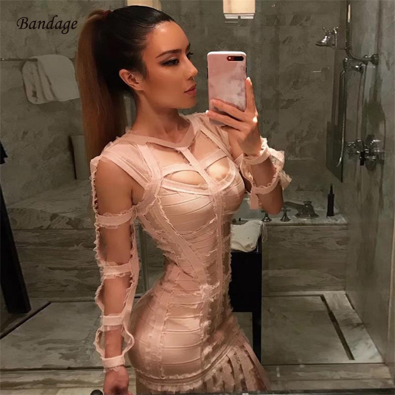 Runway Spring New Designer Tassel Vestido Sexy Hollow Out Long Sleeve Dress  Bodycon Fringe Prom Show 896323089486