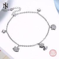 Inalis 925 فضة خلخال القلب شكل قلادة الحيوانات الصغيرة خلخال للنساء فتاة الإناث المجوهرات هدية الزفاف