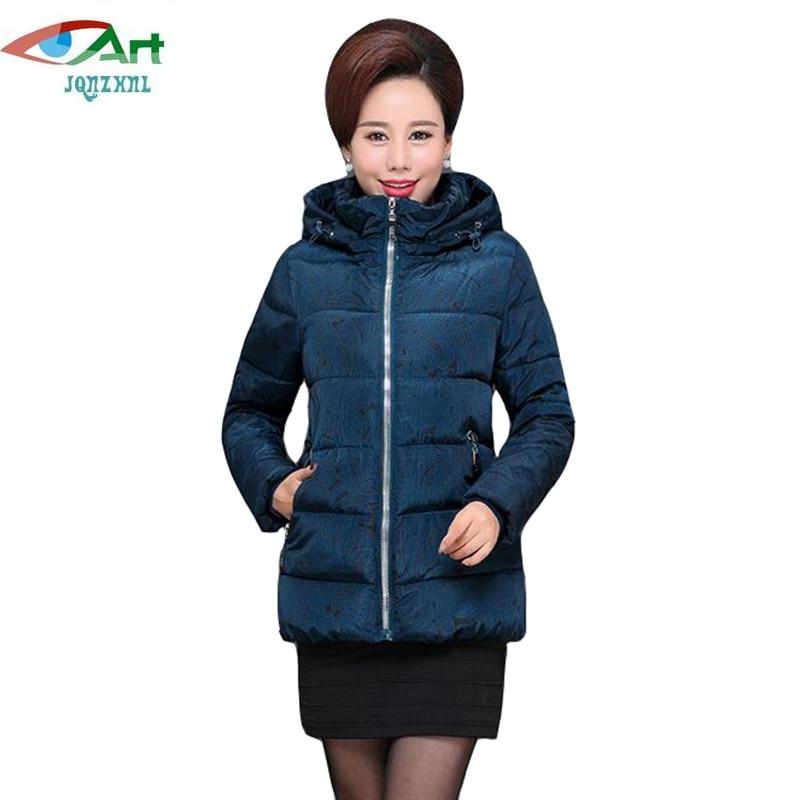 JQNZHNL Mid-aged Women Clothing Down Cotton Jacket Coats Women Casual Hooded Thicken Down Cotton Coats Parkas Plus Size 4XL E816