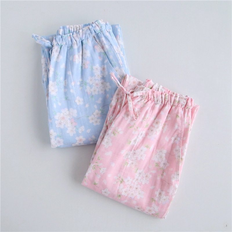 Spring Girls   Homewear Women Casual Print Sleepwear Bottom Ladies Long Length Nighty Pants Female  Cotton Trousers