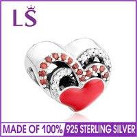 LS Новый стерлингового серебра 925 Эмаль сердце шариках с красной CZ Fit оригинальный браслет Цепочки и ожерелья Аутентичные Fine Jewelry 100 шт./лот