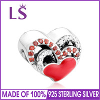 LS New 925 Sterling Silver Enamel Heart Charm Beads With Red CZ Fit Original Bracelet Necklace Authentic Fine Jewelry 100pcs/lot