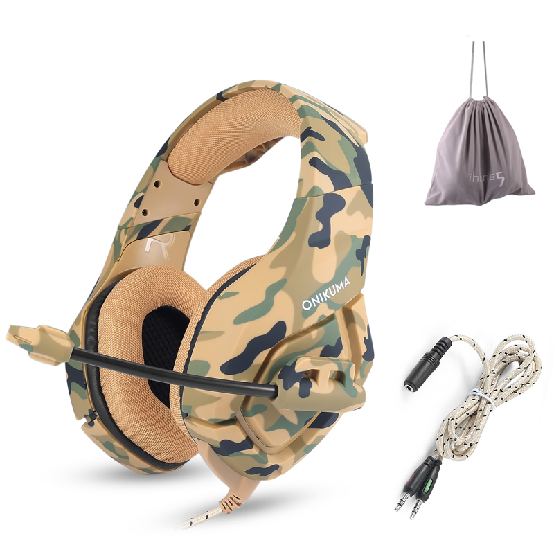 ONIKUMA K1 Camouflage Gaming Headphone Bass Casque Gamer Headset 3.5mm jack with Mic for PS4 PC Xbox One Mobile Phone Tablet